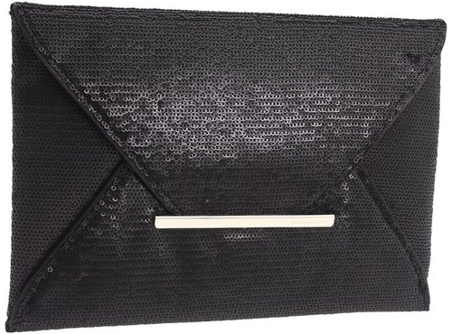 BCBGMAXAZRIA - Matte Sequins Envelope Clutch (Black) - Bags and Luggage