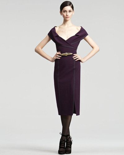 Donna Karan Off-The-Shoulder Crepe Dress
