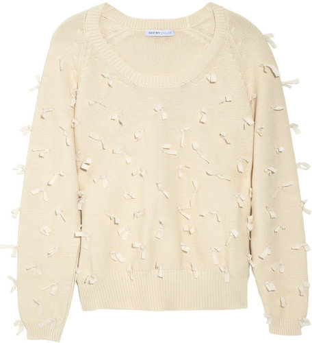 See by Chloé Bow-appliquéd knitted cotton sweater