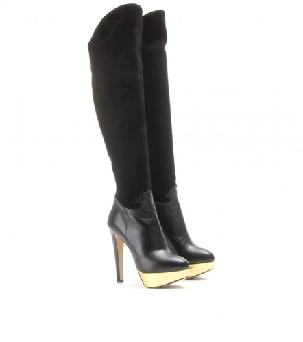 Charlotte Olympia CORDELIA SUEDE AND LEATHER OVER-THE-KNEE BOOTS