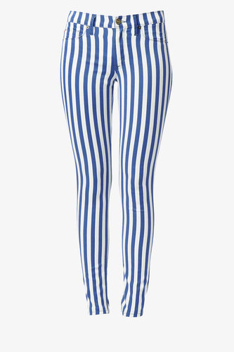 Nico Mid-Rise Super Skinny- Navy & White Stripes