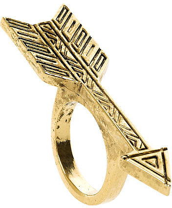 Plated Antiqued Arrow Ring