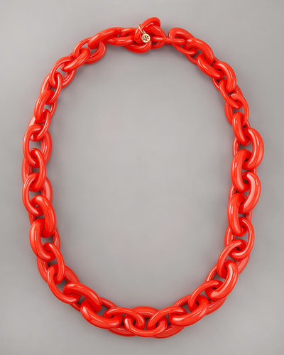 Tory Burch Chunky Resin-Link Necklace, Red