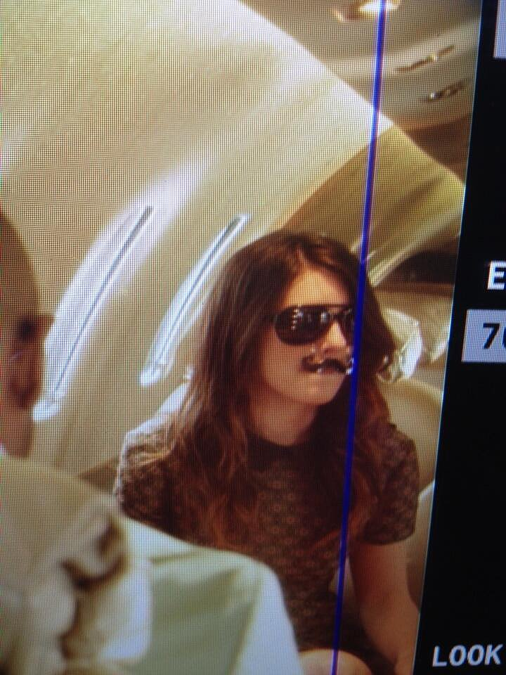 Shenae Grimes prepped for her final scene in mustache glasses. Source: Twitter user 90210Assistant