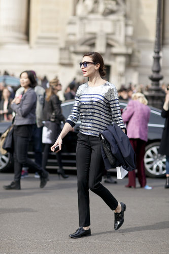 Sequined stripes put a high-shine spin on classic Parisian style.