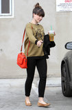 Sophia's low-key West Hollywood look, including a tiger sweater, provided the perfect base for her bold red Mulberry bag, which she threw casually over her shoulder.