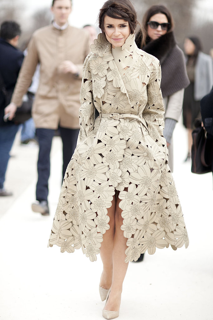 Miroslava Duma showcased a total statement piece with this cutout floral trench.
