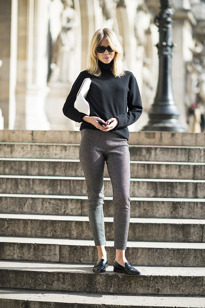 We adore the slightly retro feel of her cropped trousers and turtleneck — how very Audrey Hepburn, no? Source: Le 21ème | Adam Katz Sinding