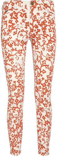Diane von Furstenberg Current/Elliott The Classic Skinny printed low-rise jeans