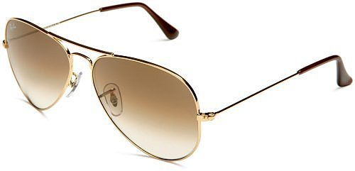 Ray-Ban RB3025 Aviator Large Metal Sunglasses 58 mm, Non-Polarized, Gold/Brown Fade