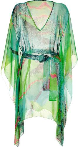 Matthew Williamson Escape Mint Multicolor Printed Silk Chiffon Caftan