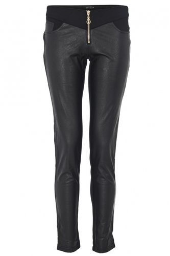 Black Faux Leather Front Jeggings