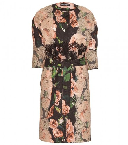 Dolce &amp; Gabbana FLORAL PRINT JACQUARD COAT WITH LACE APPLIQU