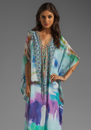 Camilla Long Lace Up Kaftan in Craving A Patch of Green from REVOLVEclothing.com