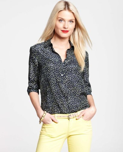Petite Soft Dash Print Silk Cotton Shirt