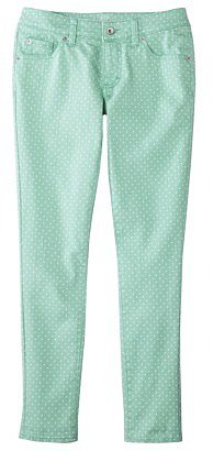 Merona® Women's Skinny Rolled Ankle Pant (Fit 3) - Mint Polka Dots
