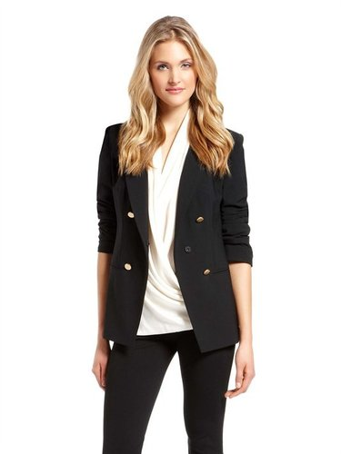 Runway Long Sleeve Peak Lapel Jacket With Gold Buttons