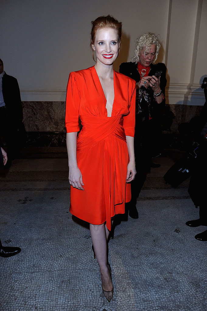 Jessica Chastain chose a bright dress for Saint Laurent.