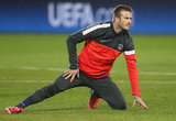 David Beckham warmed up before the game.