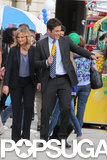 Amy Poehler and an excited Rob Lowe worked on a scene.