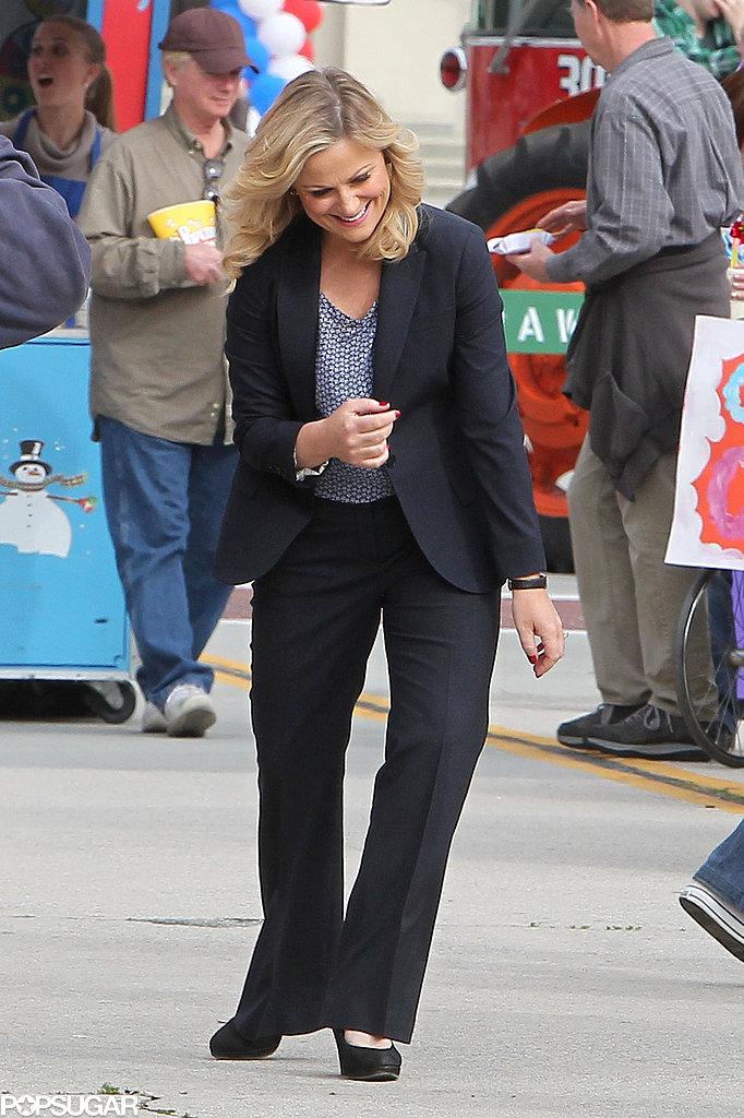Amy Poehler laughed on set.