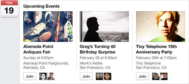 Based on previously attended events, Facebook will recommend events in your area that you may be interested in.