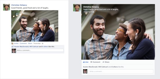 A side-by-side comparison of the old Facebook feed vs. the new Facebook feed.