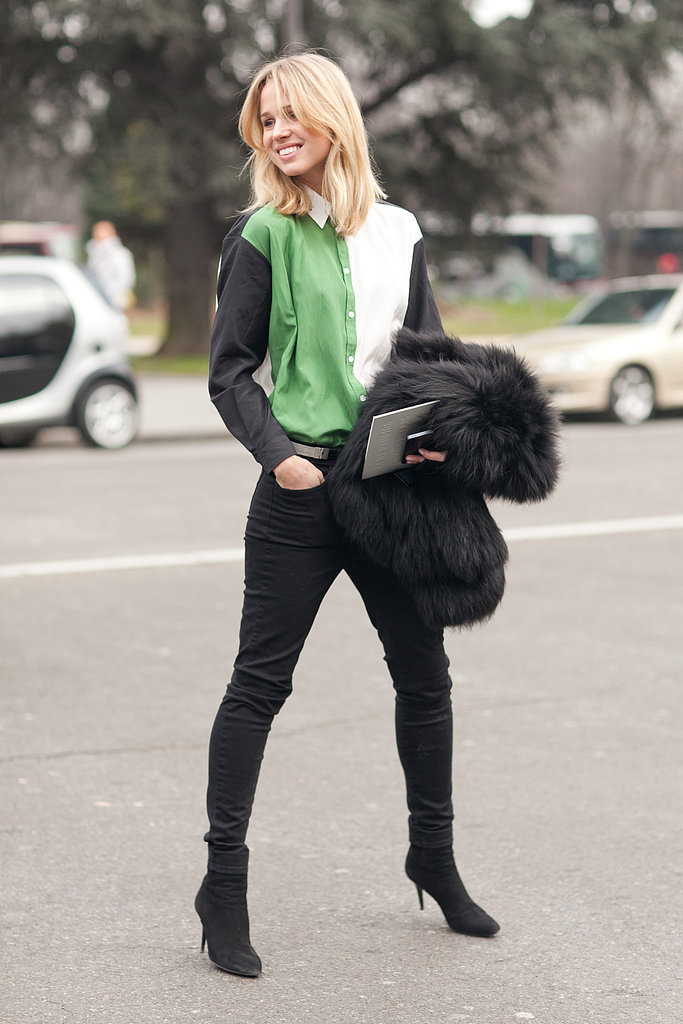 Elin Kling added a colorblocked button-down to basic black. Source: Le 21ème | Adam Katz Sinding
