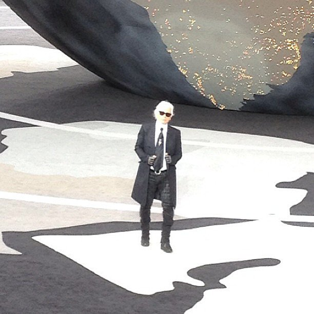 The Kaiser himself took a bow at the end of the Chanel show.