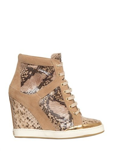 Jimmy Choo - 100mm Printed Calfskin Sneaker Wedges