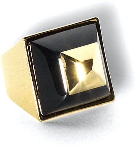 Geometric Cocktail Ring Black