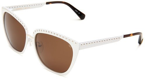 Rebecca Minkoff Harrison Cat Eye Sunglasses,White & Gold Frame/Brown Lens,One Size