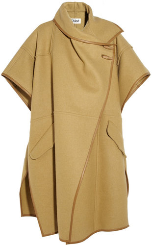 Chloé Leather-trimmed wool-blend cape