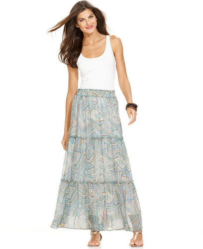 Ellen Tracy Skirt, Printed Sheer Maxi
