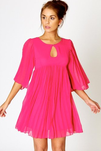 Kate pleated chiffon shift dress