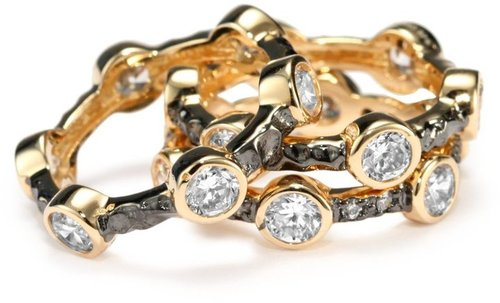 "Belargo Jewelry ""SOHO"" Two Tone Starry Night Set of 3 Stack Rings"