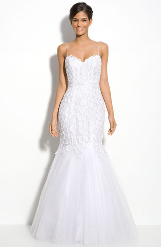 Alberto Makali Beaded Spaghetti Strap Mermaid Gown