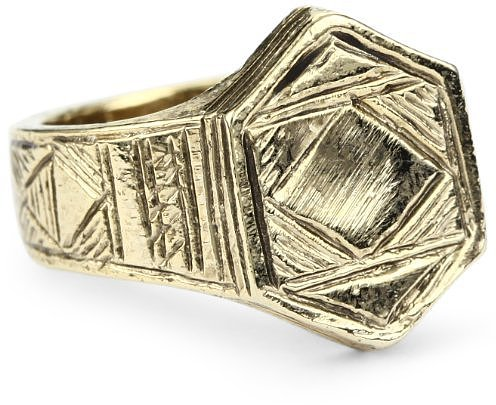 Low Luv by Erin Wasson Afghani Hexagon Stack Gold Ring