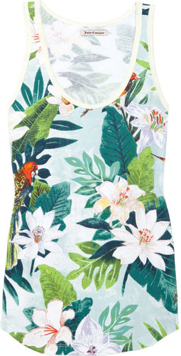 Juicy Couture Tropical-print stretch-cotton piqué tank