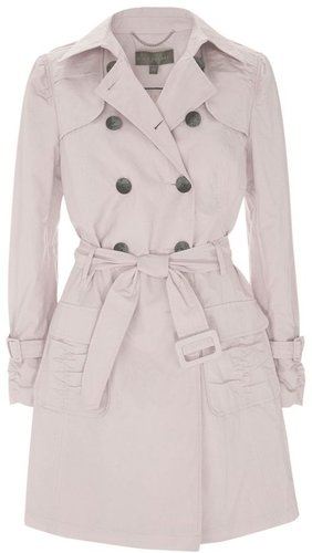 Mint Velvet Ruched Trench Coat, Shell Pink