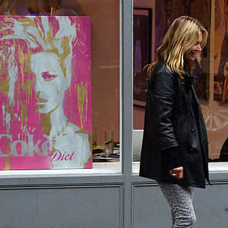 Kate Moss Looks at a Portrait of Herself