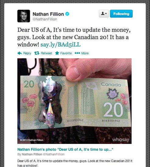 Actor Nathan Fillion of Firefly fame shows off the interactive new Canadian bill.