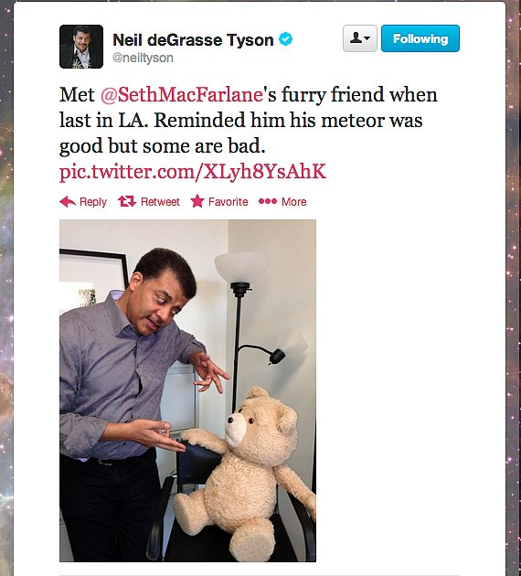 StarTalk Radio host Neil deGrasse Tyson speaks with the most talkative teddy bear in Hollywood: Ted.