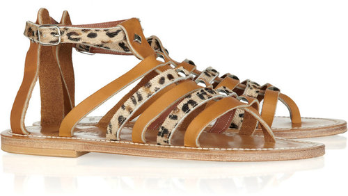 K Jacques St Tropez Agopos calf hair and leather gladiator sandals