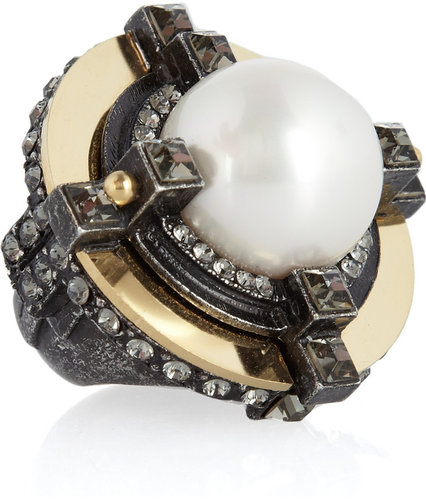 Lanvin Crystal-embellished glass pearl ring
