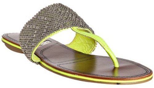 Matiko neon yellow leather beaded &#039;Roxanne&#039; thong sandals