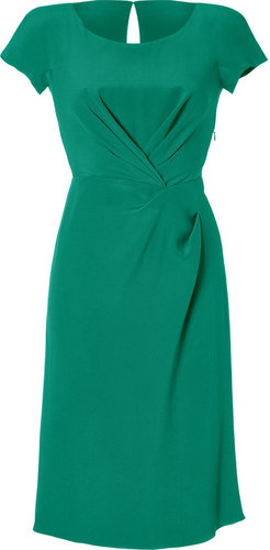 Alberta Ferretti Emerald Draped Silk Dress