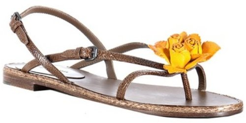 Bottega Veneta brown leather flower detail sandals