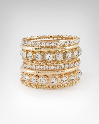 Multi Chain & Crystal Encrusted Bangle Set