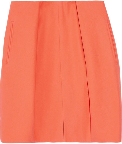 Carven Pleated cotton-canvas mini skirt